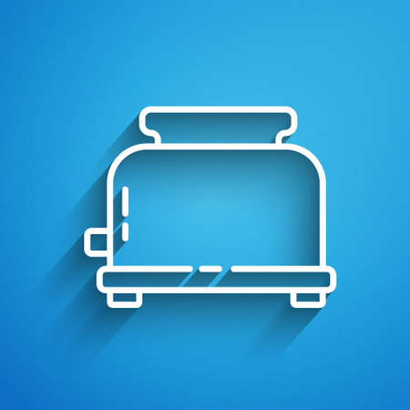 White line Toaster with toasts icon isolated on blue background. Long shadow. Vector.