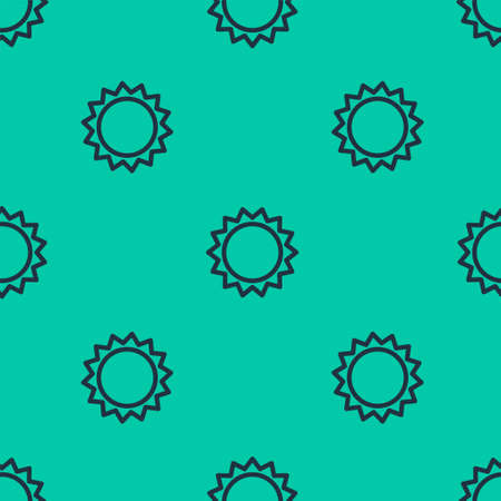 Blue line Sun icon isolated seamless pattern on green background. Summer symbol. Good sunny day. Vector Illustration. Иллюстрация