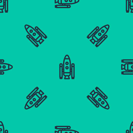 Blue line Space shuttle and rockets icon isolated seamless pattern on green background. Vector Illustration.