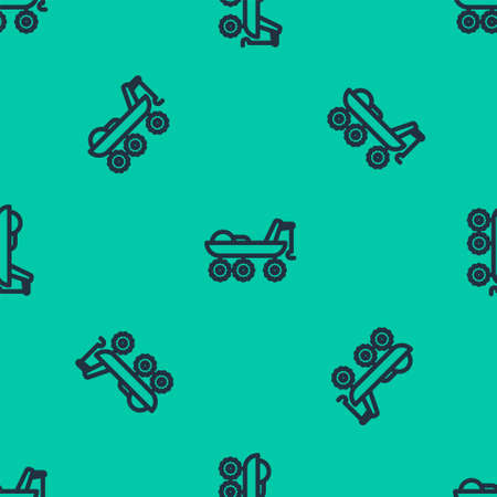 Blue line Mars rover icon isolated seamless pattern on green background. Space rover. Moonwalker sign. Apparatus for studying planets surface. Vector Illustration. Ilustracja