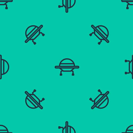 Blue line UFO flying spaceship icon isolated seamless pattern on green background. Flying saucer. Alien space ship. Futuristic unknown flying object. Vector Illustration.