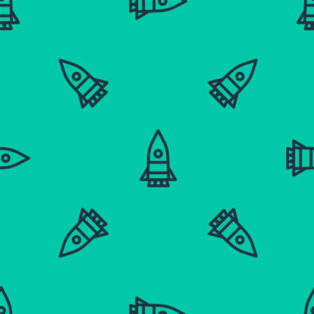 Blue line Rocket ship icon isolated seamless pattern on green background. Space travel. Vector Illustration.