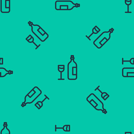 Blue line Wine bottle with wine glass icon isolated seamless pattern on green background. Happy Easter. Vector Illustration.