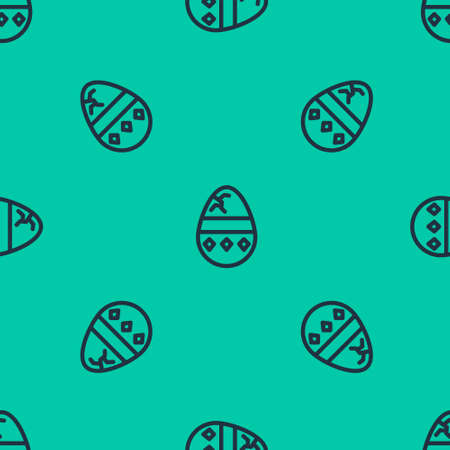 Blue line Cracked egg icon isolated seamless pattern on green background. Happy Easter. Vector Illustration.