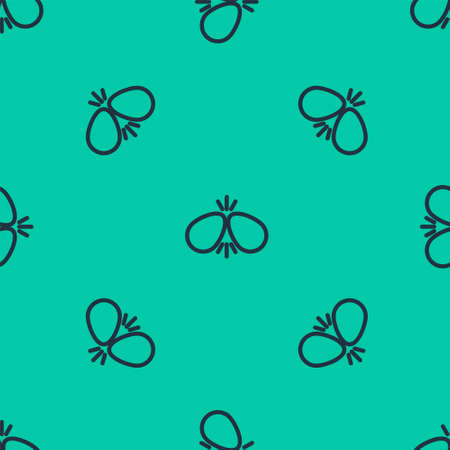 Blue line Easter eggs icon isolated seamless pattern on green background. Two eggs cracking each other. Happy Easter. Vector Illustration.