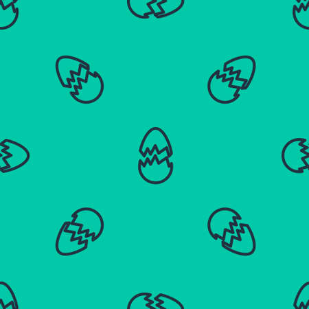 Blue line Broken egg icon isolated seamless pattern on green background. Happy Easter. Vector Illustration. Standard-Bild - 151149580