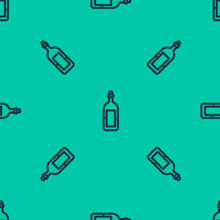 Blue line Bottle of wine icon isolated seamless pattern on green background. Vector Illustration.  イラスト・ベクター素材