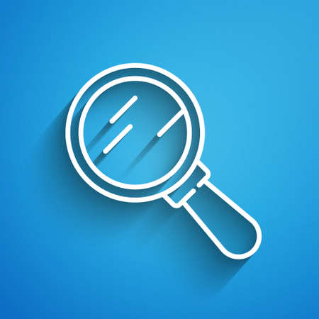 White line Magnifying glass icon isolated on blue background. Search, focus, zoom, business symbol. Long shadow. Vector.
