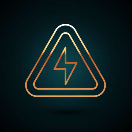 Gold line High voltage icon isolated on dark blue background. Danger symbol. Arrow in triangle. Warning icon. Vector. 일러스트