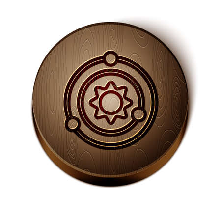 Brown line Solar system icon isolated on white background. The planets revolve around the star. Wooden circle button. Vector. 일러스트
