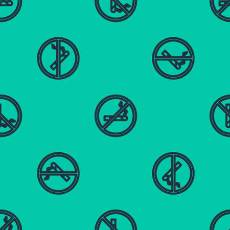 Blue line No Smoking icon isolated seamless pattern on green background. Cigarette symbol. Vector Illustration. Ilustração