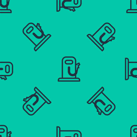 Blue line Petrol or gas station icon isolated seamless pattern on green background. Car fuel symbol. Gasoline pump. Vector Illustration.