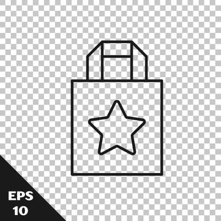 Black line Paper shopping bag icon isolated on transparent background. Package sign. Vector. Vettoriali