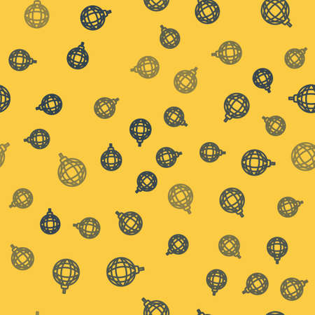 Blue line Disco ball icon isolated seamless pattern on yellow background. Vector.