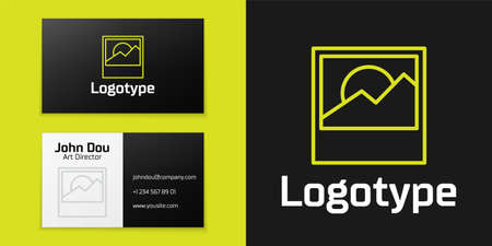 Logotype line Photo icon isolated on black background.  design template element. Vector.