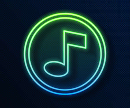 Glowing neon line Music note, tone icon isolated on blue background. Vector.