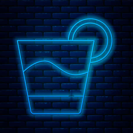Glowing neon line Cocktail icon isolated on brick wall background. Vector.