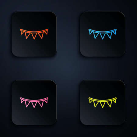 Color neon line Carnival garland with flags icon isolated on black background. Party pennants for birthday celebration, festival decoration. Set icons in square buttons. Vector. 矢量图像