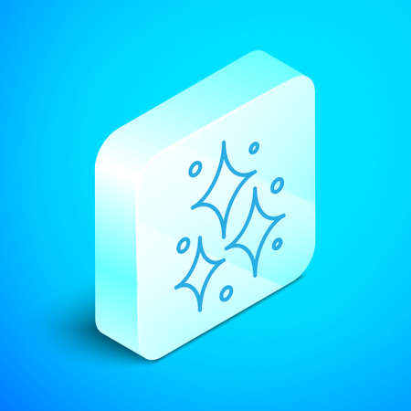 Isometric line Firework icon isolated on blue background. Concept of fun party. Explosive pyrotechnic symbol. Silver square button. Vector.