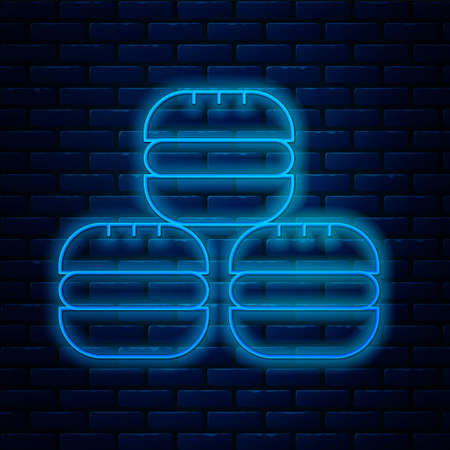 Glowing neon line Macaron cookie icon isolated on brick wall background. Macaroon sweet bakery. Vector. 向量圖像