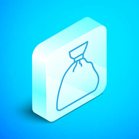 Isometric line Garbage bag icon isolated on blue background. Silver square button. Vector Illustration.