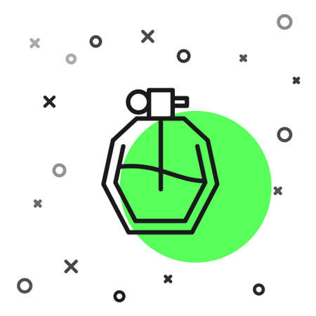 Black line Perfume icon isolated on white background. Vector Illustration.