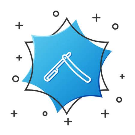 White line Straight razor icon isolated on white background. Barbershop symbol. Blue hexagon button. Vector Illustration.