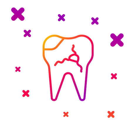 Color line Broken tooth icon isolated on white background. Dental problem icon. Dental care symbol. Gradient random dynamic shapes. Vector Illustration. Stock Illustratie