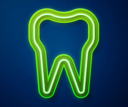 Glowing neon line Tooth icon isolated on blue background. Tooth symbol for dentistry clinic or dentist medical center and toothpaste package. Vector Illustration.