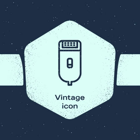 Grunge line Electrical hair clipper or shaver icon isolated on blue background. Barbershop symbol. Monochrome vintage drawing. Vector Illustration. Çizim