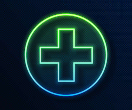 Glowing neon line Cross hospital medical icon isolated on blue background. First aid. Diagnostics symbol. Medicine and pharmacy sign. Vector Illustration. Ilustracja