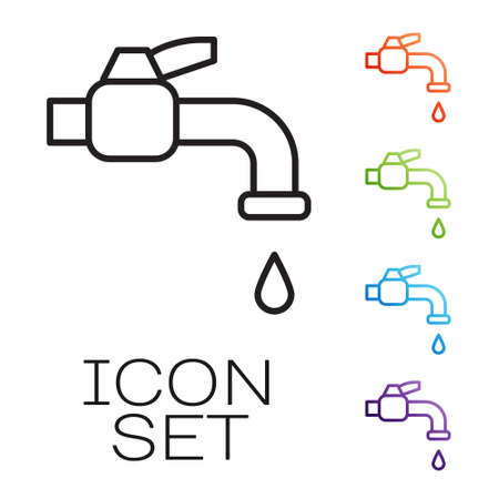 Black line Water tap icon isolated on white background. Set icons colorful. Vector Illustration.