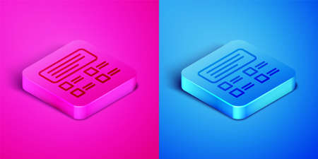 Isometric line Online quiz, test, survey or checklist icon isolated on pink and blue background. Exam list. E-education concept. Square button. Vector Illustration.