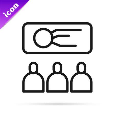 Black line Training, presentation icon isolated on white background. Vector Illustration