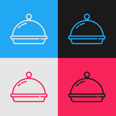Pop art line Covered with a tray of food icon isolated on color background. Tray and lid. Restaurant cloche with lid. Kitchenware symbol. Vector.