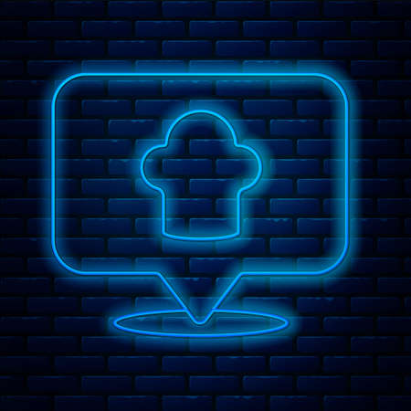 Glowing neon line Chef hat with location icon isolated on brick wall background. Cooking symbol. Cooks hat. Vector.
