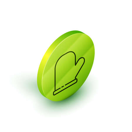 Isometric line Oven glove icon isolated on white background. Kitchen potholder sign. Cooking glove. Green circle button. Vector.