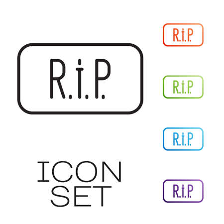Black line Speech bubble rip death icon isolated on white background. Set icons colorful. Vector.