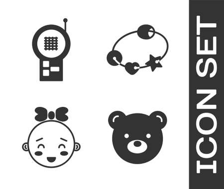 Set Teddy bear plush toy, Baby Monitor Walkie Talkie, Happy little girl head and Rattle baby toy icon. Vector. Vettoriali