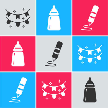 Set Carnival garland with flags, Baby bottle and Wax crayon for drawing icon. Vector.