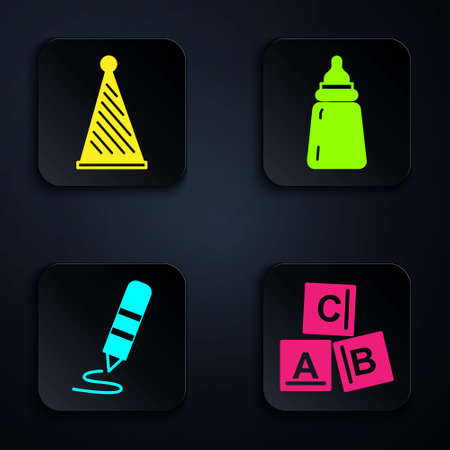 Set ABC blocks, Party hat, Wax crayon for drawing and Baby bottle. Black square button. Vector. Ilustração