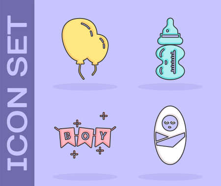 Set Newborn baby infant swaddled, Balloons with ribbon, Carnival garland with flags and Baby bottle icon. Vector.