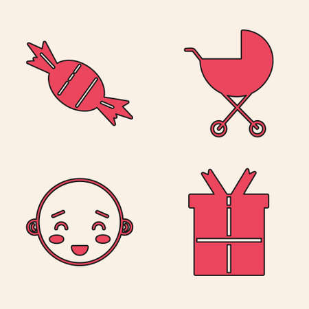Set Gift box, Candy, Baby stroller and Happy little boy head icon. Vector.