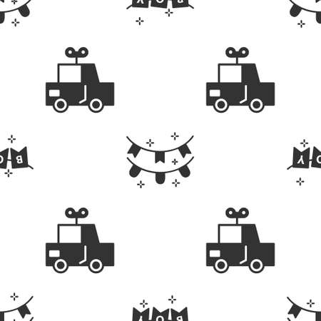 Set Carnival garland with flags, Carnival garland with flags and Toy car on seamless pattern. Vector. 矢量图像