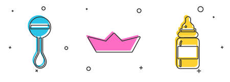 Set Rattle baby toy, Folded paper boat and Baby bottle icon. Vector. 일러스트