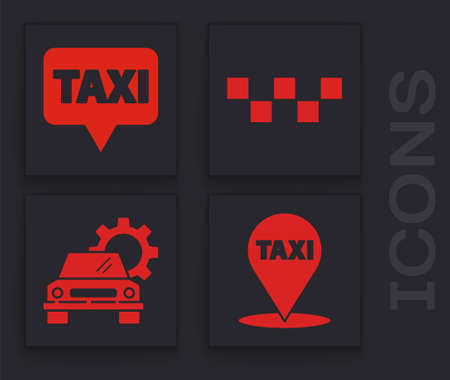 Set Map pointer with taxi, Map pointer with taxi, Taxi car roof and Car service icon. Vector.