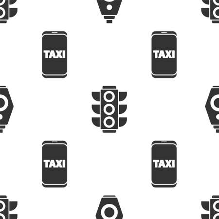 Set Car key with remote, Traffic light and Taxi call telephone service on seamless pattern. Vector. Ilustração