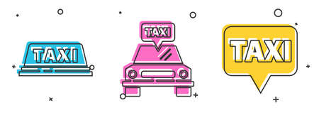 Set Taxi car roof, Taxi car and Map pointer with taxi icon. Vector. 向量圖像