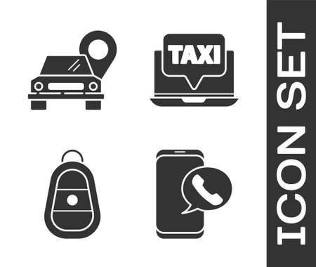 Set Taxi call telephone service, Map pointer with taxi, Car key with remote and Laptop call taxi service icon. Vector.