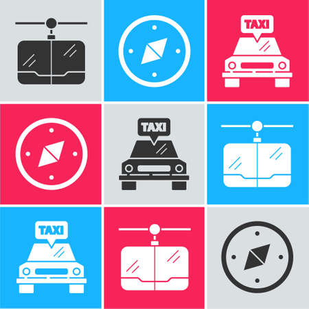 Set Cable car, Compass and Taxi car icon. Vector.